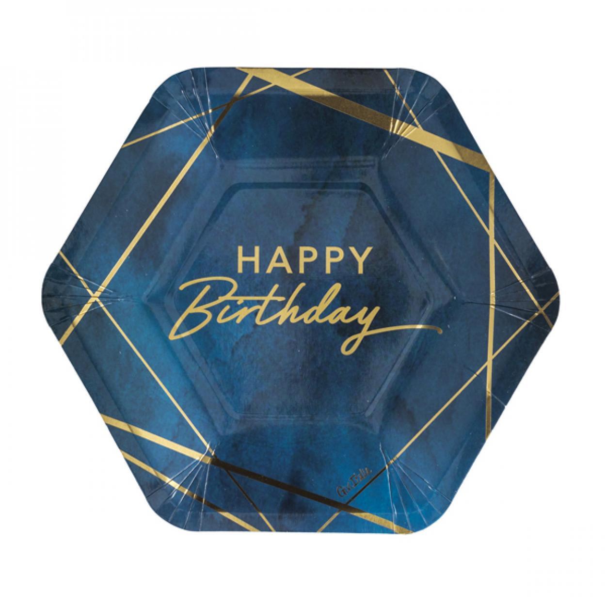 8 PIATTI CM23 ESAGONALI BIRTHDAY BLUE 64116