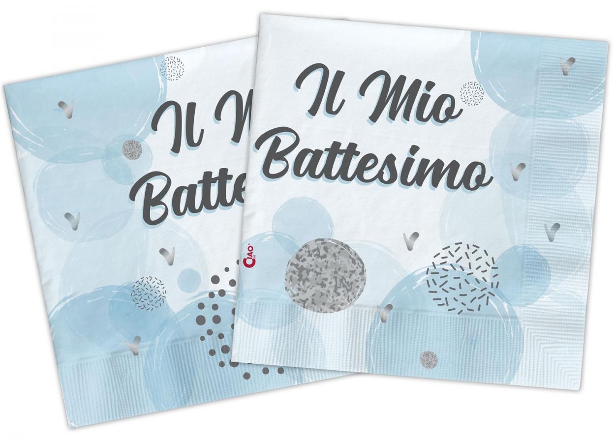 20 TOVAGLIOLI 33X33 COMPOSTABILE IL MIO BATTESIMO CELESTE 34776