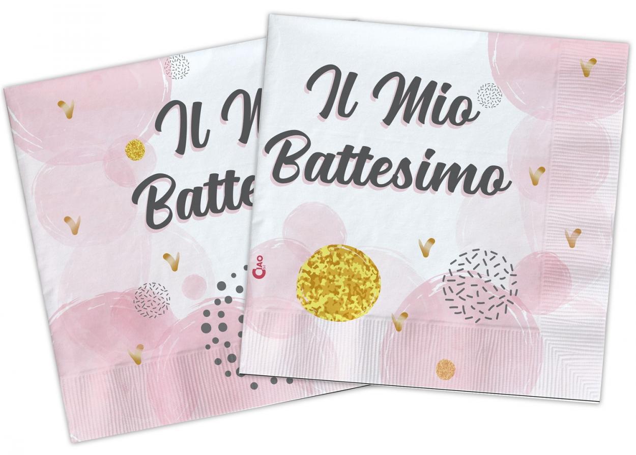 20 TOVAGLIOLI 33X33 COMPOSTABILE IL MIO BATTESIMO ROSA 34781