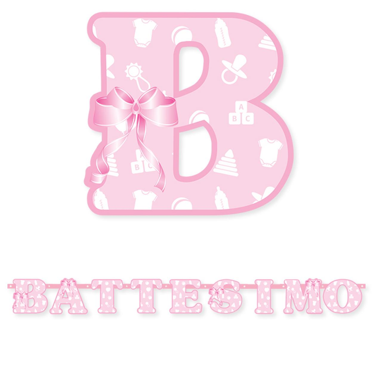 FESTONE BATTESIMO ROSA MT.1.35 74402