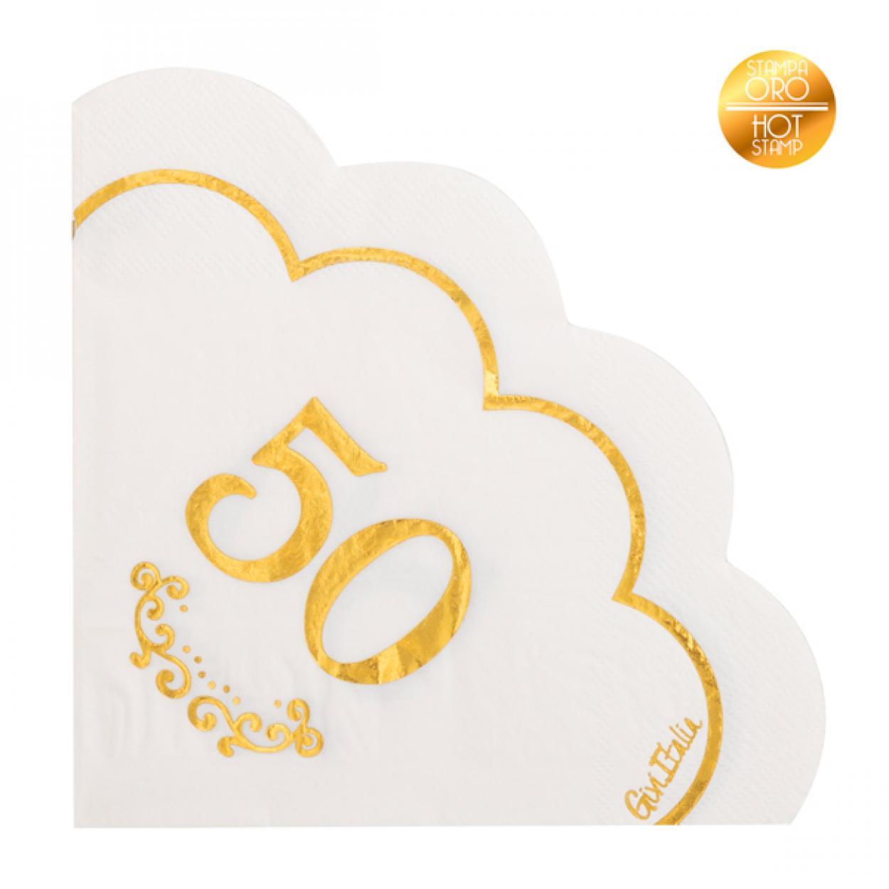 16 TOVAGLIOLI BIANCHI 50 ANNI SMERLO ORO 64002