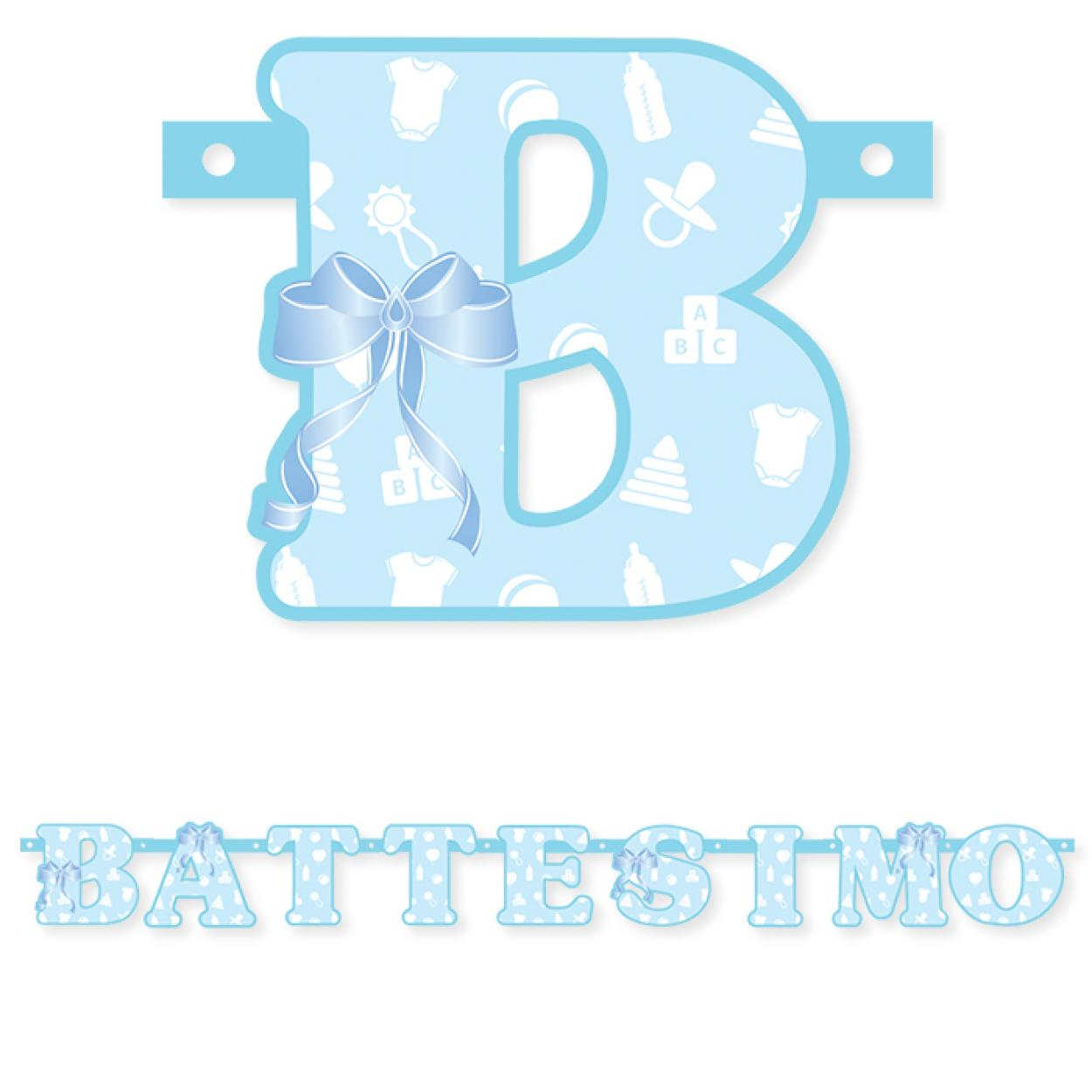 FESTONE BATTESIMO CELESTE MT.1.35 74403